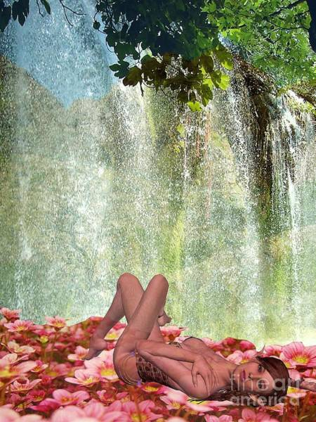 By The Waterfall Art Print