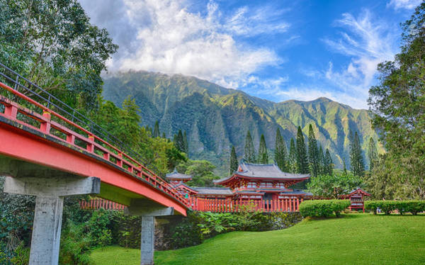 Wall Art - Photograph - Byodo-in Temple In The Valley Of The Temples by Tin Lung Chao
