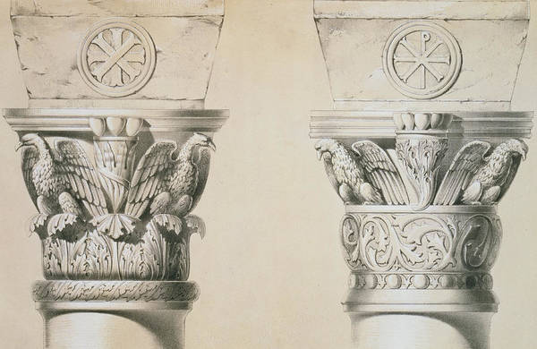 Eagle Drawing - Byzantine Capitals From Columns In The Nave Of The Church Of St Demetrius In Thessalonica by Charles Felix Marie Texier