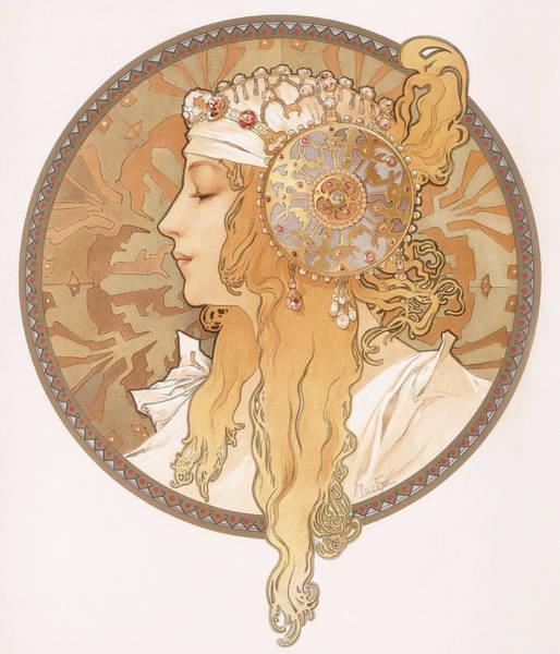 Mucha Painting - Byzantine Head Of A Blond Maiden by Alphonse Marie Mucha