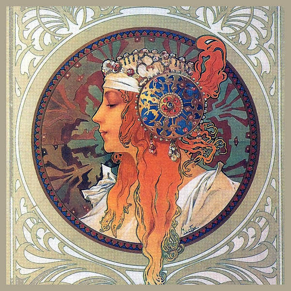 Alphonse Mucha Painting - Byzantine Head The Blonde by Philip Ralley