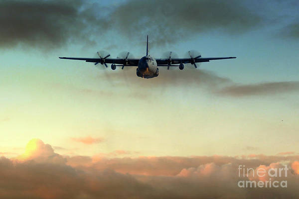 Bird In Flight Digital Art - C-130e Inbound by J Biggadike