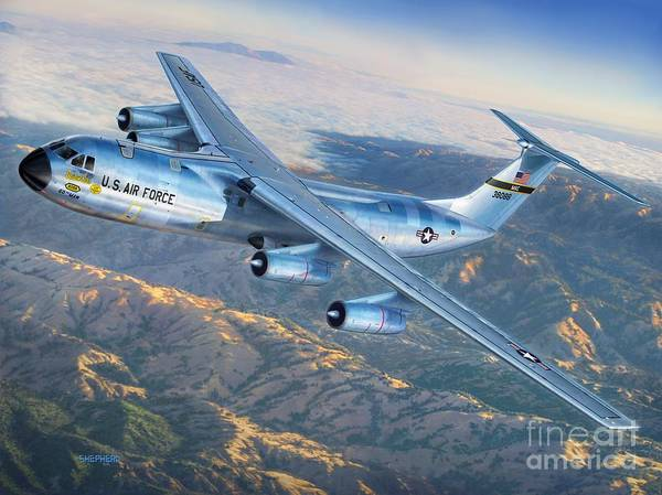 Golden Digital Art - C-141 Starlifter The Golden Bear by Stu Shepherd