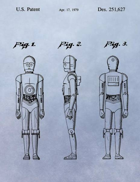 Star Wars Wall Art - Drawing - C-3po Patent by Dan Sproul