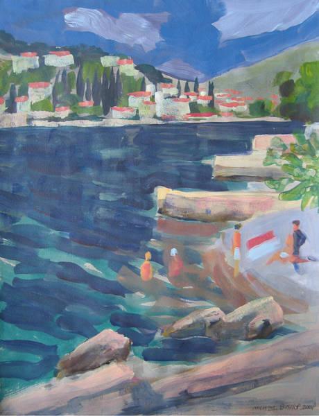 Hvar Wall Art - Painting - c Bathers Hvar island Croatia by Michael Bishop