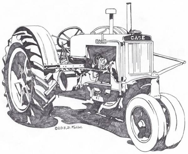 Old Tractor Drawing - C-case by David Fuller