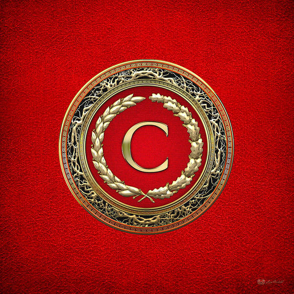 Digital Art - C - Gold Vintage Monogram On Red Leather by Serge Averbukh