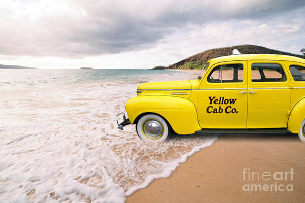 Yellow Taxi Photograph - Cab Fare To Maui by Edward Fielding