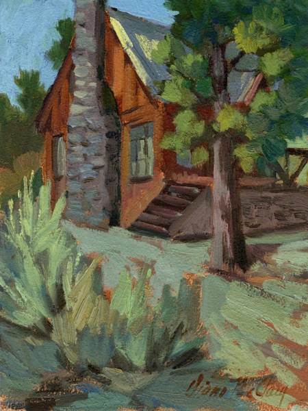 Big Pine Wall Art - Painting - Cabin At Big Bear Lake by Diane McClary