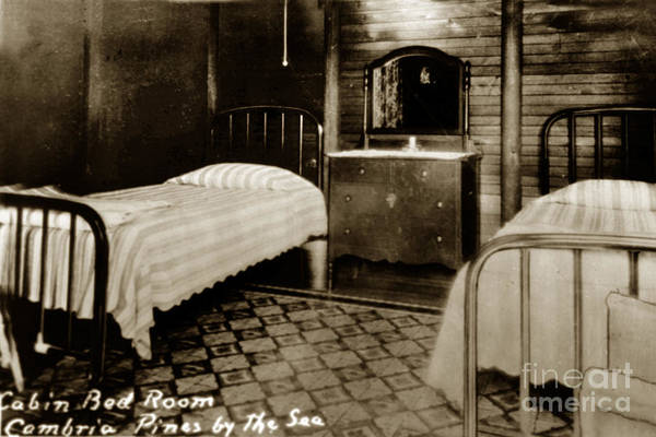 Photograph - Cabin Bed Room Cambria Pines By The Sea Circa 1935 by California Views Archives Mr Pat Hathaway Archives