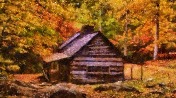 Cabin In The Woods Wall Art - Painting - Cabin In Autumn by Dan Sproul