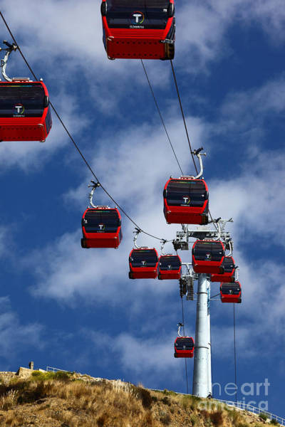 Photograph - Red Line Cable Car Gondolas Bolivia by James Brunker