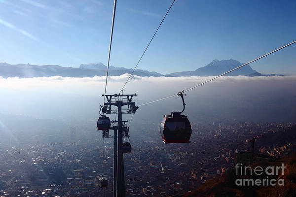Photograph - Cable Cars Over La Paz City by James Brunker