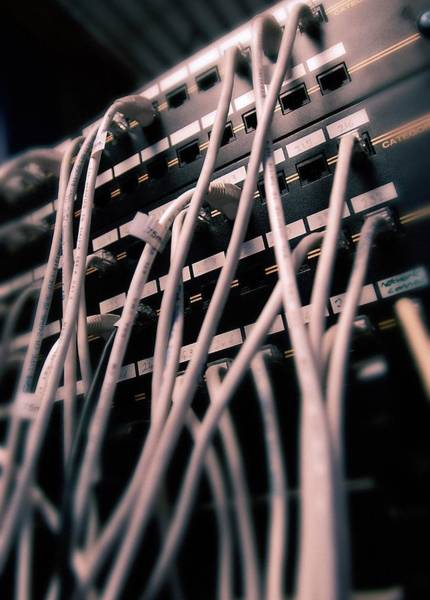 Cabling Photograph - Cables In Server Room by Mark Sykes