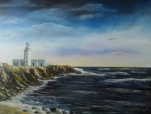 Wall Art - Painting - Cabo Rojo Lighthouse by Tony Rodriguez