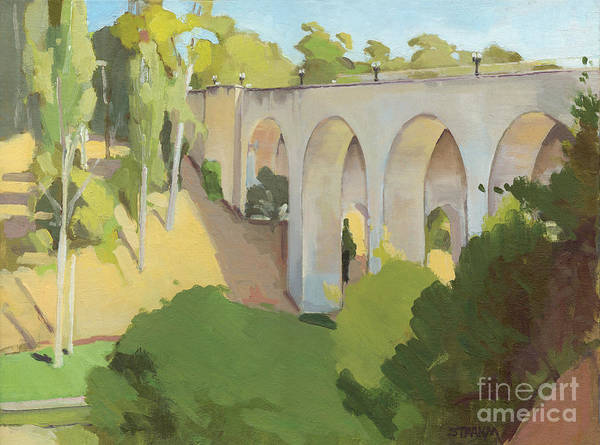 Laurel Wall Art - Painting - Cabrillo Bridge, Balboa Park, San Diego, California by Paul Strahm