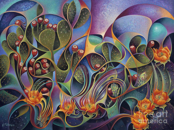 Needles Painting - Cactus Dinamicus 3d by Ricardo Chavez-Mendez