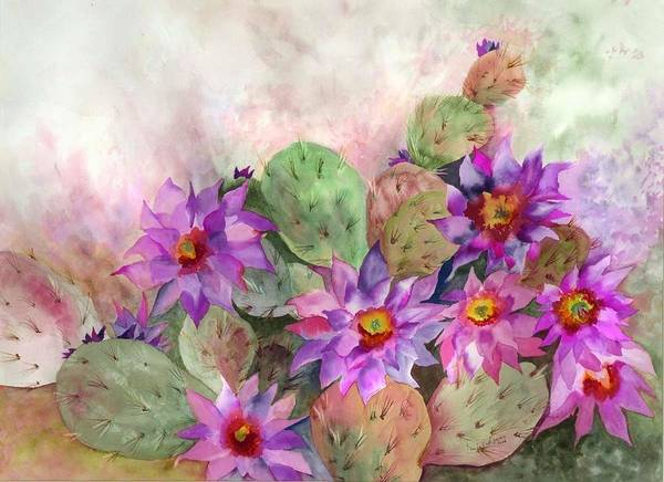Cactus Flower Wall Art - Painting - Cactus Garden by Neela Pushparaj