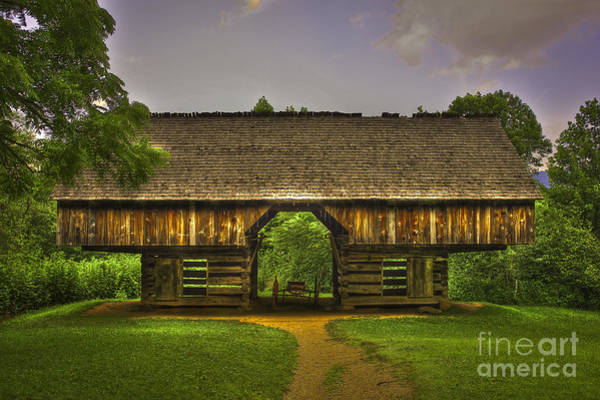 Photograph - Cades Cove Cantilever Barn Great Smokey Mountains by Reid Callaway