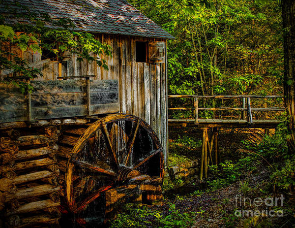 Cades Cove Mill Painted Art Print