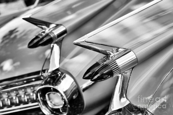 Tail Light Photograph - Cadillac Bullet Tail Lights Monochrome by Tim Gainey
