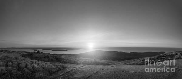 Mv Photograph - Cadillac Mountain Panorama Bw by Michael Ver Sprill