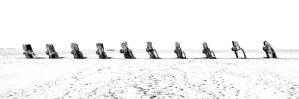Photograph - Cadillac Ranch Whiteout 001 Bw by Lance Vaughn