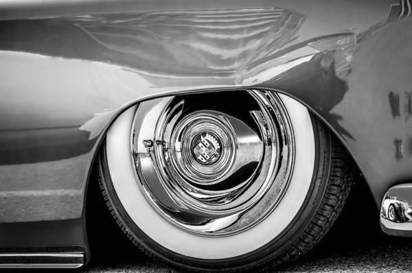 Photograph - Cadillac Wheel Emblem -0853bw by Jill Reger