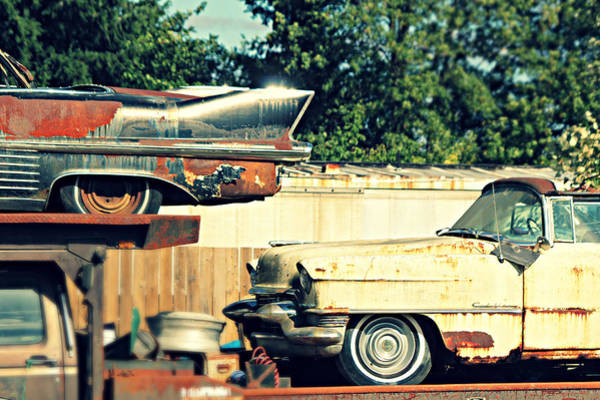 Wrecking Yard Photograph - Cadillacs In Decay by Steve Natale