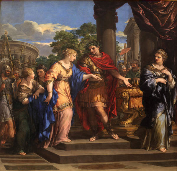 Cesar Wall Art - Photograph - Caesar Giving Cleopatra The Throne Of Egypt, C.1637 Oil On Canvas by Pietro da Cortona