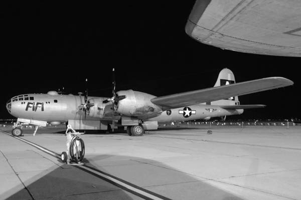 Superfortress Photograph - Caf B-29 Fifi Night Grayscale March 2 2013 by Brian Lockett