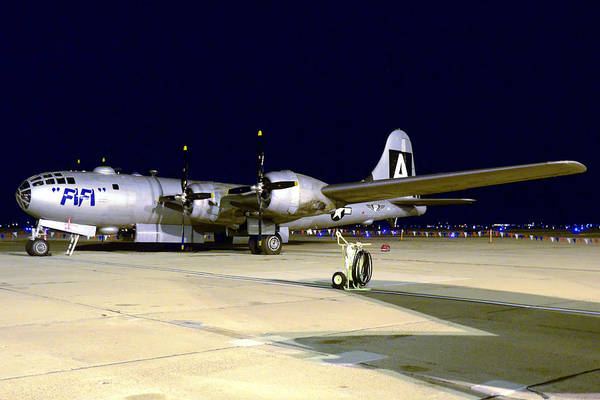 Superfortress Photograph - Caf B-29 Fifi Night March 2 2013 by Brian Lockett