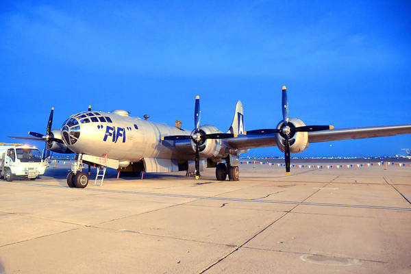 Superfortress Photograph - Caf B-29 Fifi Sunset March 2 2013 by Brian Lockett