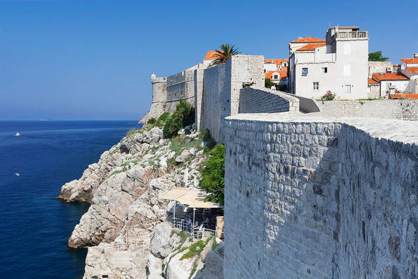 Dubrovnik Photograph - Cafe Below The City Wall At Old Town by Panoramic Images