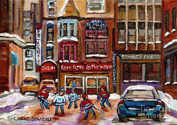 Boys Playing Hockey Painting - Cafe Bistro La Marinara by Carole Spandau