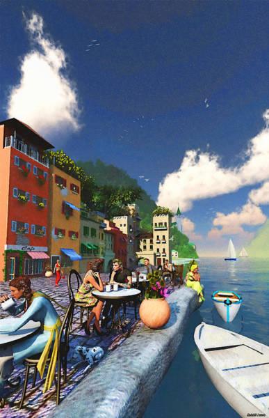 Ken Morris Digital Art - Cafe By The Sea by Ken Morris
