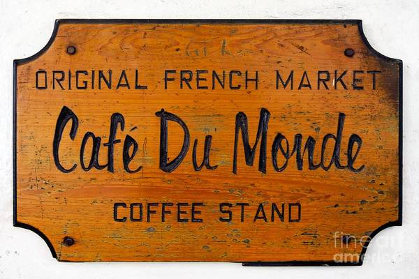 French Quarter Photograph - Cafe Du Monde Sign In New Orleans Louisiana by Paul Velgos