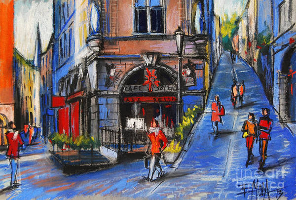 City Cafe Wall Art - Pastel - Cafe Du Soleil - Place De La Trinite - Lyon France by Mona Edulesco