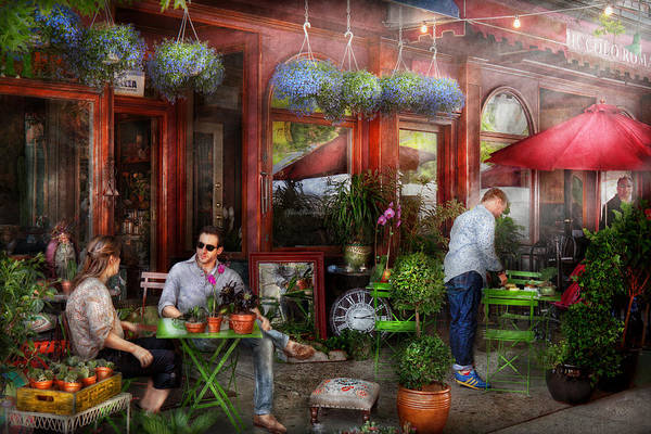Photograph - Cafe - Hoboken Nj - A Day Out  by Mike Savad