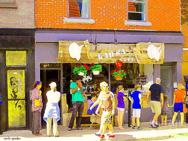 Painting - Cafe Kahwa Coffee Shop Restaurant Tea Room Colorful Art Plateau Montreal City Scenes Carole Spandau by Carole Spandau