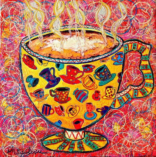 Wall Art - Painting - Cafe Latte - Coffee Cup With Colorful Coffee Cups Some Pink And Bubbles  by Ana Maria Edulescu