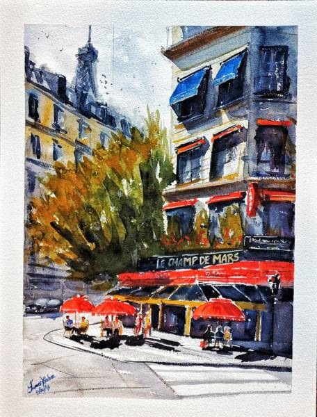 Wall Art - Painting - Cafe Le Champ De Mars by James Nyika