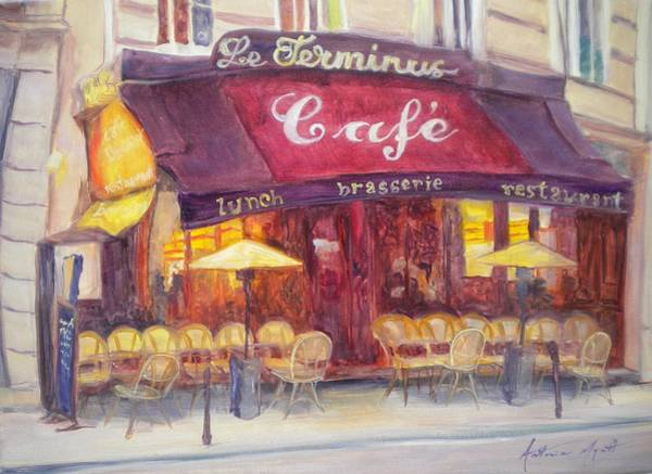 Brasserie Wall Art - Photograph - Cafe Le Terminus, 2010 Oil On Canvas by Antonia Myatt