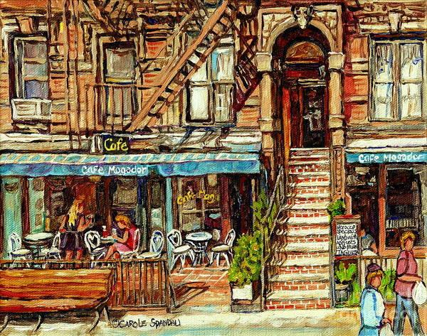 Cafe Mogador Moroccan Mediterranean Cuisine New York Paintings East Village Storefronts Street Scene Art Print