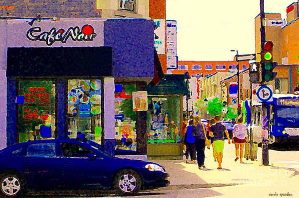 Painting - Cafe Noir Mont Royal Espresso Bar Salads Panini Pizza 24 Hrs Montreal Bus Scenes Art Carole Spandau by Carole Spandau