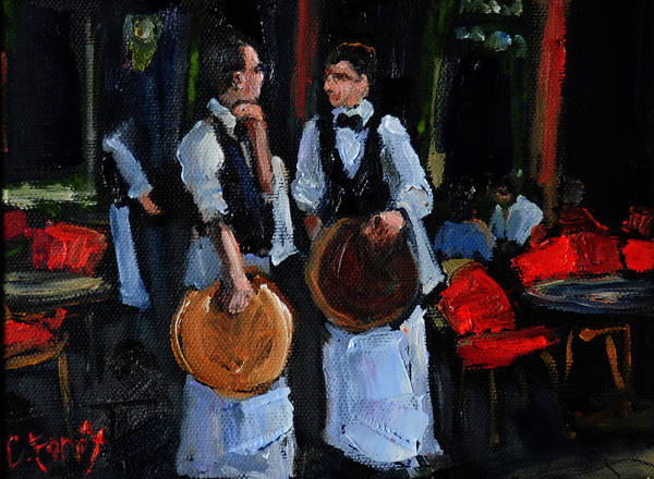 Wall Art - Painting - Cafe Philosophers by Carole Foret