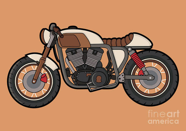 Racer Digital Art - Cafe Race Motor Vector by Wnprh Collective
