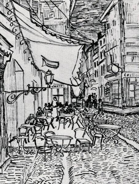 Master Piece Painting - Cafe Terrace At Night - Drawing by Vincent van Gogh