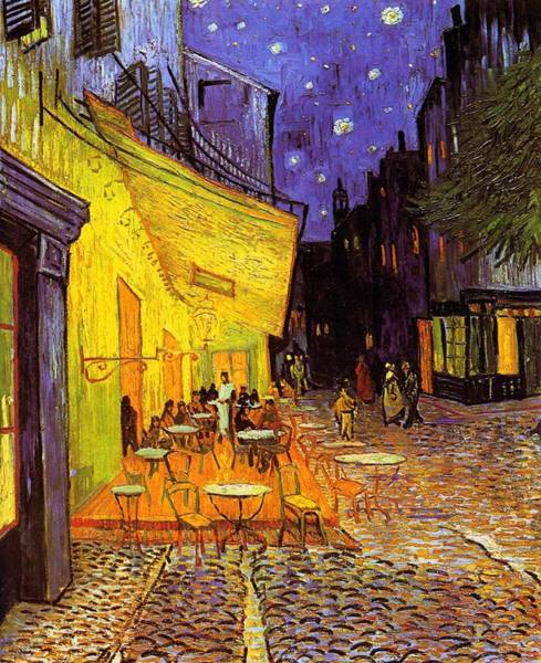 Cafe Terrace At Night Art Print