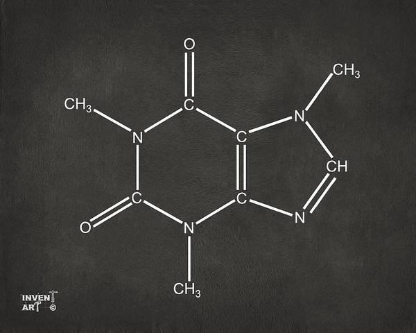 Addiction Wall Art - Digital Art - Caffeine Molecular Structure Gray by Nikki Marie Smith